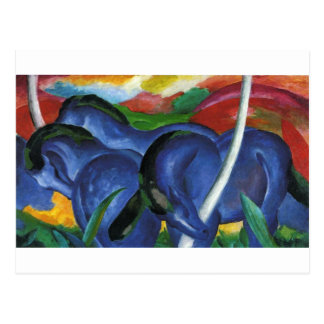 Os grandes cavalos azuis por Franz Marc Cartão Postal
