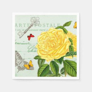 Os guardanapo de papel do vintage floral francês