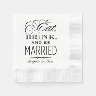 Os guardanapo do casamento   comem a bebida e