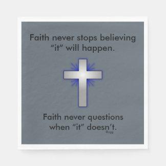 Os guardanapo w/Blue da fé nunca alargaram-se cruz