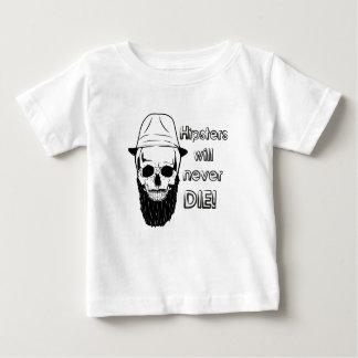 Os hipsteres nunca morrerão! camiseta para bebê