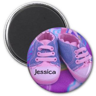 Os ímãs conhecidos do bebê personalizaram o tênis ímã redondo 5.08cm