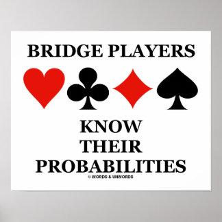 Os jogadores de ponte sabem seus ternos do cartão poster