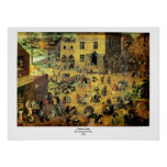 """Os jogos"""" - 1560 crianças de Pieter Bruegel das """" Impressão"""