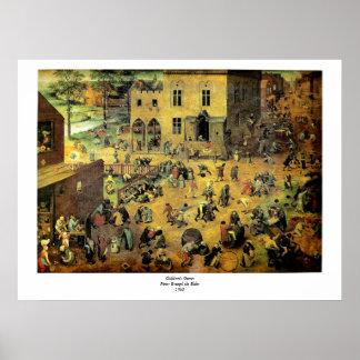 """Os jogos"""" - 1560 crianças de Pieter Bruegel das """" Poster"""