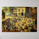 """Os jogos"""" - 1560 crianças de Pieter Bruegel das """" Pôster"""