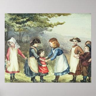Os jogos das crianças c 1880 w c no papel posteres