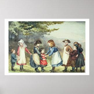 Os jogos das crianças c 1880 w c no papel pôsteres
