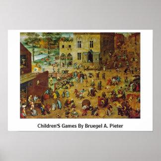Os jogos das crianças por Bruegel A. Pieter Poster