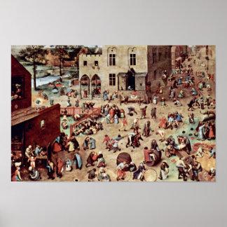 Os jogos das crianças por Bruegel D. Ä. Pieter (me Posteres