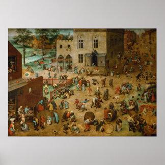 Os jogos das crianças por Pieter Bruegel a pessoa  Pôsteres