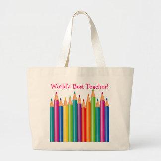 Os lápis coloridos o melhor professor 2 do mundo bolsa tote grande