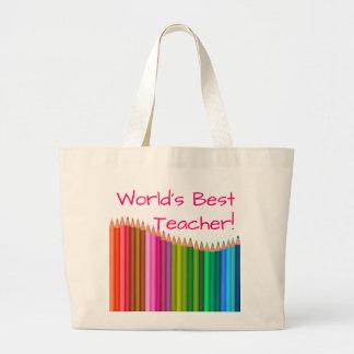Os lápis coloridos o melhor professor 3 do mundo bolsa tote grande