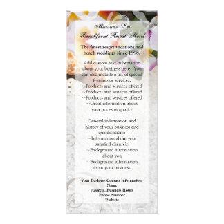 Os leus da orquídea do Plumeria na cremalheira da  Panfletos Informativos