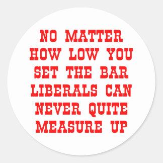 Os liberais nunca medem acima adesivo