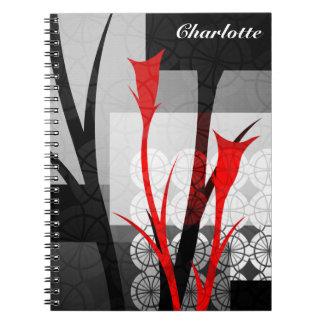 Os lírios abstratos personalizaram o caderno