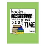 Os livros são faróis no grande mar do tempo cartoes postais