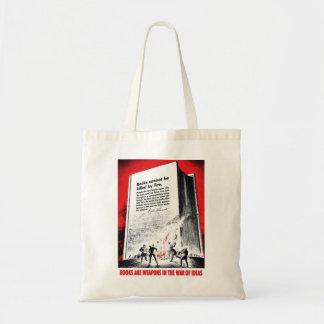 """Os """"livros são saco das armas"""" sacola tote budget"""