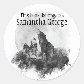 Os lobos que urram a lua, este livro pertencem adesivo redondo