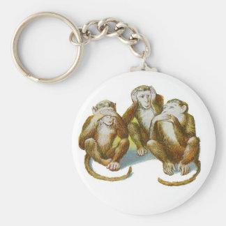 Os macacos cómicos ouvem See não fazer nenhum mau Chaveiros