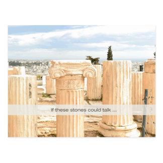 Os mármores reuniram colunas do cartão na acrópole