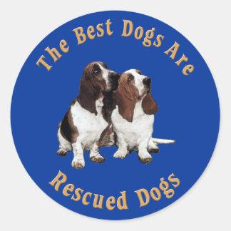 Os melhores cães são Basset Hound salvado) Adesivo Em Formato Redondo