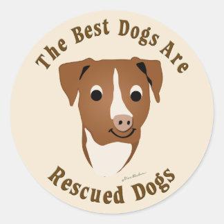 Os melhores cães são salvados o pitbull adesivo redondo