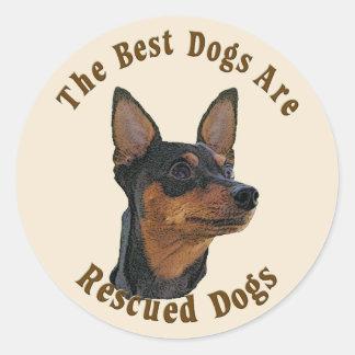 Os melhores cães são salvados - Pinscher diminuto Adesivo Redondo