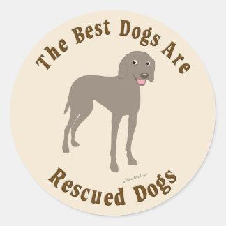 Os melhores cães são salvados - Weimaraner Adesivo