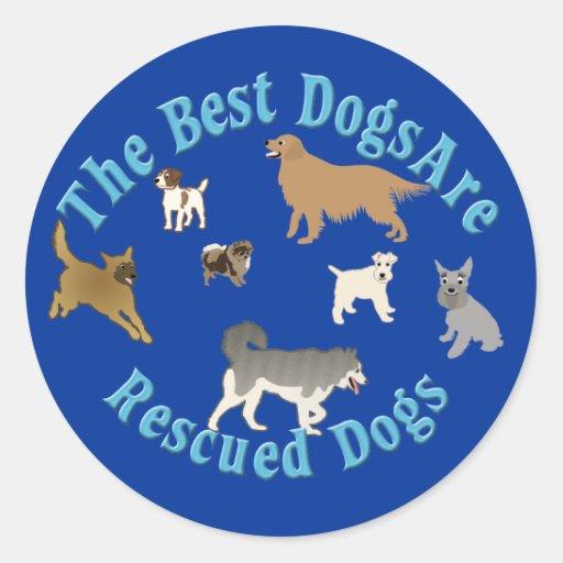 Os melhores cães são salvamentos adesivo em formato redondo