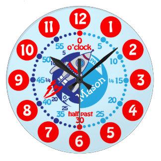 Os meninos dos miúdos aprendem dizer a tempo o relógio grande