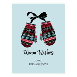 Os mitenes do feriado aquecem o cartão do Natal