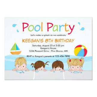 Os miúdos da natação associam a versão uma do │ convite 12.7 x 17.78cm
