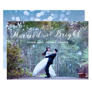 Os Newlyweds casaram primeiramente o Natal Convite 12.7 X 17.78cm