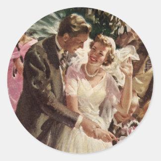 Os Newlyweds do noivo da noiva do casamento Adesivo