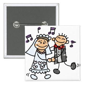 Os noivos comemoram bóton quadrado 5.08cm