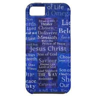 Os nomes da arte transversal azul do Jesus Cristo Capa Para iPhone 5
