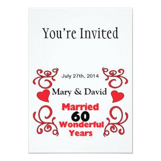 Os nomes vermelhos do rolo & dos corações & datam convite 12.7 x 17.78cm
