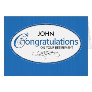 Os parabéns da aposentadoria personalizam o nome, cartão comemorativo