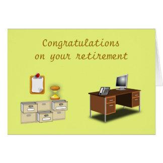 Os parabéns em seu escritório da aposentadoria cartão comemorativo