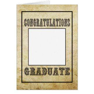 Os parabéns graduam-se, estilo ocidental velho cartão comemorativo