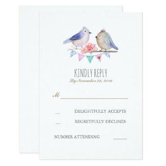 os pássaros acoplam o rsvp rústico do casamento da convite 8.89 x 12.7cm