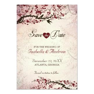 Os pássaros da flor de cerejeira e do amor salvar convite 12.7 x 17.78cm