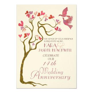 Os pássaros do amor no aniversário da foto da convite 12.7 x 17.78cm