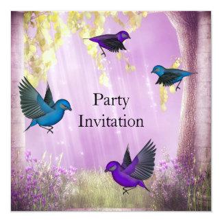 Os pássaros do partido do convite convidam o rosa