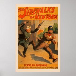 Os passeios do poster vintage de New York Broadway