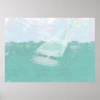 Os Pastels da aguarela Windsurf poster do