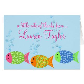 Os peixes agradecem-lhe Notecards Cartão De Nota