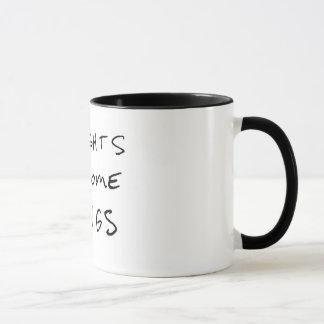 """Os """"pensamentos transformam-se caneca de café das"""