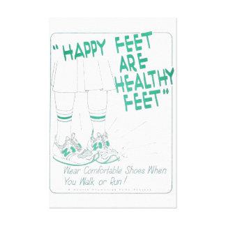 Os pés saudáveis são impressão feliz do vintage do impressão de canvas envolvidas